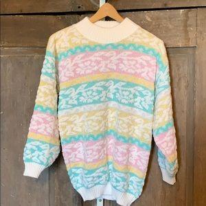 Vintage pastel mock neck sweater 80s